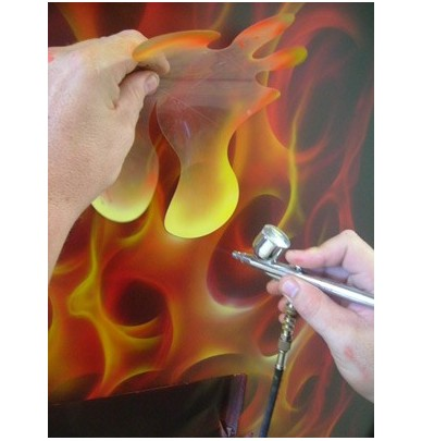 pochoir stardust pour flammes true fire peinture pour a rographe. Black Bedroom Furniture Sets. Home Design Ideas