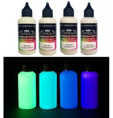 Série Glow – 4 peintures phosphorescentes Acryliques-PU pour aérographe