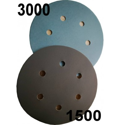 5 Disques de ponçage velcro grain 1500 ou 3000