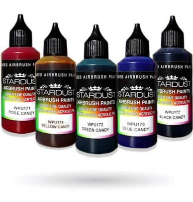 Série Candy – 5 couleurs transparentes Acryliques-PU pour aérographe