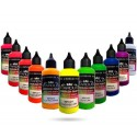 11 peintures Fluorescentes Acryliques pour aérographe - Version 1L