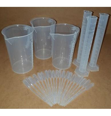 Kit de 3 béchers 3 éprouvettes 20 pipettes